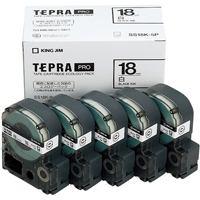 【キングジム】 PROテープ SS18K-5P白に黒文字 18mm5個★お得な10個パック