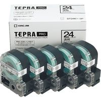 【キングジム】 PROテープ ST24K-5P 透明に黒文字24mm 5個★お得な10個パック