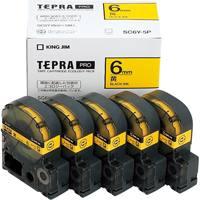 【キングジム】 PROテープ SC6Y-5P 黄に黒文字 6mm 5個★お得な10個パック