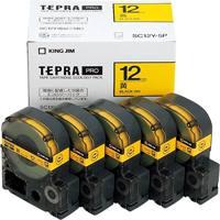 【キングジム】 PROテープ SC12Y-5P 黄に黒字 12mm 5個★お得な10個パック