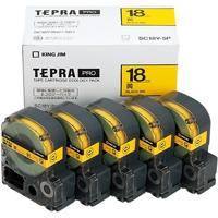 【キングジム】 PROテープ SC18Y-5P 黄に黒字 18mm 5個★お得な10個パック