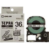 【キングジム】 PROテープ強粘着 SS36KW 白に黒文字 36mm★お得な10個パック