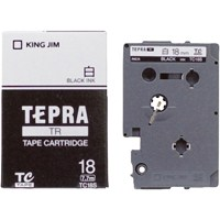 【キングジム】 テプラTRテープ TC18S 白に黒文字 18mm★お得な10個パック