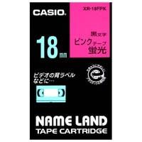 【カシオ計算機】 蛍光テープ XR-18FPK 桃に黒文字 18mm★お得な10個パック