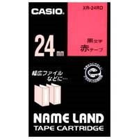 【カシオ計算機】 ラベルテープ XR-24RD 赤に黒文字 24mm★お得な10個パック