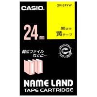 【カシオ計算機】 ラベルテープ XR-24YW 黄に黒文字 24mm★お得な10個パック