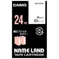 【カシオ計算機】 ラベルテープ XR-24WE 白に黒文字 24mm★お得な10個パック