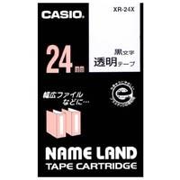 【カシオ計算機】 透明テープ XR-24X 透明に黒文字 24mm★お得な10個パック