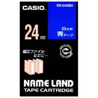 【カシオ計算機】 ラベルテープ XR-24ABU 青に白文字 24mm★お得な10個パック