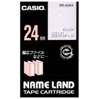 【カシオ計算機】 白文字テープ XR-24AX 透明に白文字 24mm★お得な10個パック