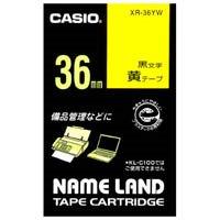 【カシオ計算機】 ラベルテープ XR-36YW 黄に黒文字 36mm★お得な10個パック