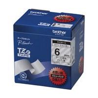 【ブラザー】 文字テープ TZe-111V透明に黒文字 6mm 5個★お得な10個パック