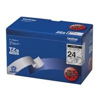 【ブラザー】 文字テープ TZe-151V透明に黒文字 24mm 5個★お得な10個パック