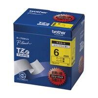 【ブラザー】 文字テープ TZe-611V黄に黒文字 6mm 5個★お得な10個パック