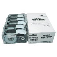 【カシオ計算機】 テープ XR-24WE-5P-E 白に黒文字 24mm 5個★お得な10個パック