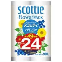 日本製紙クレシア スコッティフラワー2倍巻き S 12ロール×4P★お得な10個パック