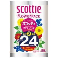 【日本製紙クレシア】 スコッティフラワー2倍巻き W 12ロール×4P ★お得な10個パック