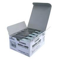 カシオ計算機 テープ XR-12X-5P-E 透明に黒文字 12mm5個★お得な10個パック