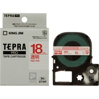 キングジム テプラPROテープ ST18R 透明に赤文字 18mm★お得な10個パック