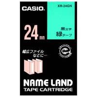 カシオ計算機 ラベルテープ XR-24GN 緑に黒文字 24mm★お得な10個パック