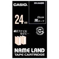 カシオ計算機 ラベルテープ XR-24ABK 黒に白文字 24mm★お得な10個パック