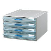 【コクヨ】 レターケース<UNIFEEL>A4タテ 透明引き出しタイプ 浅型4段LC-UNT104M 入数:1 ★お得な10個パック