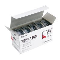 キングジム SS24KL-5PテプラPROテープカートリッジ 5個入り 白に黒文字 24mm幅×16m入数:1