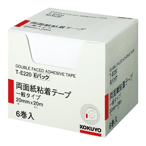 JANコード:4901480152790 コクヨ両面紙粘着テープ お徳用Eパック 6巻入りT-E220 現品 国内正規品 20mm×20m お得な10個パック