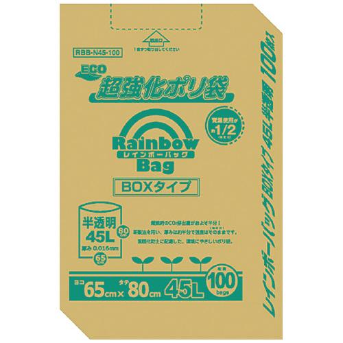 JANコード:4972759518470 オルディ レインボーバッグ(超強化ポリ袋) 半透明 45L 100枚 RB-N45-100 ★お得な10個パック