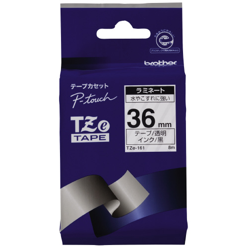 JANコード:4977766701792 半額 ブラザーピータッチ用TZeテープカセット 休日 透明に黒文字36ミリ幅TZE-161