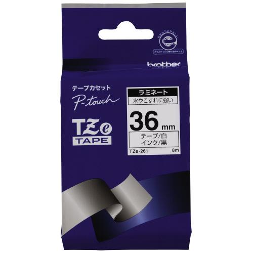 新品未使用 JANコード:4977766702010 ブラザーピータッチ用TZeテープカセット 初売り 白に黒文字36ミリ幅TZE-261