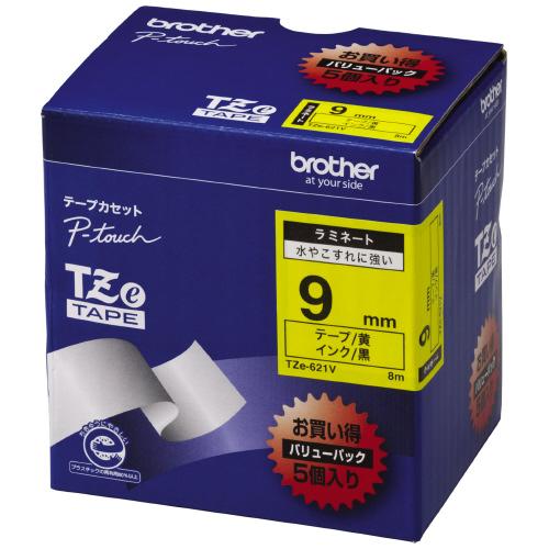 ブラザー ピータッチ用TZeテープカセット 黄に黒文字9ミリ幅 5本パック TZE-621V ★お得な10個パック