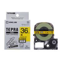 【キングジム】 テプラPROテープカートリッジ 強粘着ラベル 黄に黒文字36mm幅×8m SC36YW 入数:1 ★お得な10個パック★