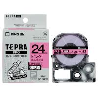 【キングジム】 テプラPROテープカートリッジ 強粘着ラベル ピンクに黒文字 24mm幅 SC24PW 入数:1 ★お得な10個パック★