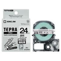 【キングジム】 テプラPROテープカートリッジ 強粘着ラベル 透明に黒文字 24mm幅 ST24KW 入数:1 ★お得な10個パック★