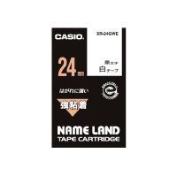 【カシオ計算機】 ネームランド テープカートリッジ 強粘着テープ 白に黒文字24mm幅 XR-24GWE 入数:1 ★お得な10個パック★
