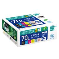 【エコリカ】 エコリカ リサイクルインク IC6CL70L互換/6色 ECI-E70L-6P 入数:1 ★お得な10個パック★