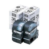 【キングジム】 テプラPROテープカートリッジ ケーブル表示ラベル 白に黒文字36mm幅 SV36K 入数:1 ★お得な10個パック★