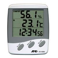 【エー・アンド・デイ】 時計付き温湿度計 本体:W100×D25×H120mm AD-5680 入数:1 ★お得な10個パック★