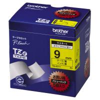 【ブラザー】 ピータッチ用TZeテープカセット 黄に黒文字9ミリ幅 5本パック TZE-621V 入数:1 ★お得な10個パック★