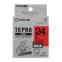 【キングジム】 テプラPROテープカートリッジ 強粘着ラベル 赤に黒文字24mm幅×8m SC24RW 入数:1 ★お得な10個パック★