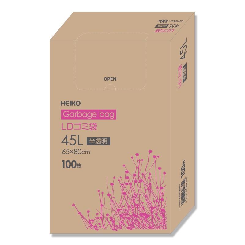 激安☆超特価 LDゴミ袋中 45L LDゴミ袋 ブランド買うならブランドオフ 箱入り 025 箱 半透明 100枚 HEIKO