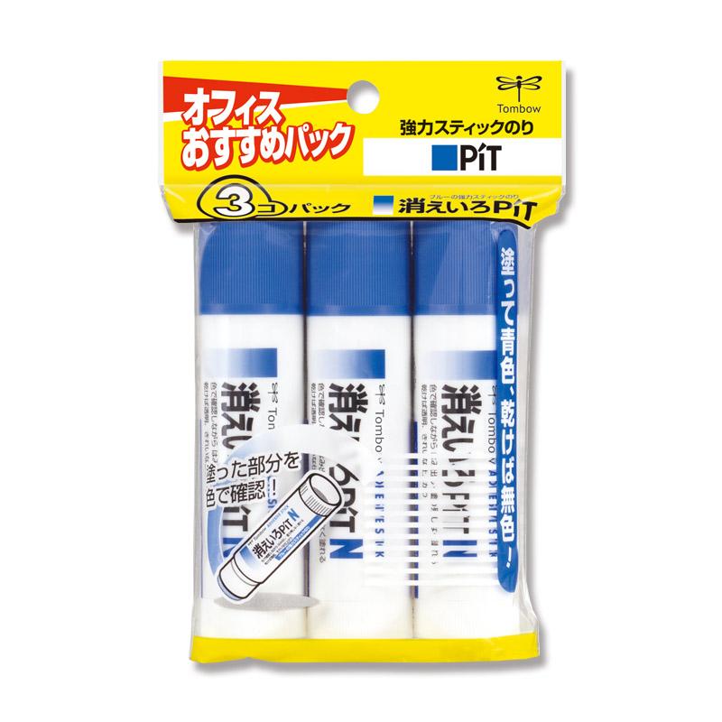 接着剤 スティックのり HCA-322 強力スティックのり 消えいろピットN トンボ鉛筆 HCA-322 3個入