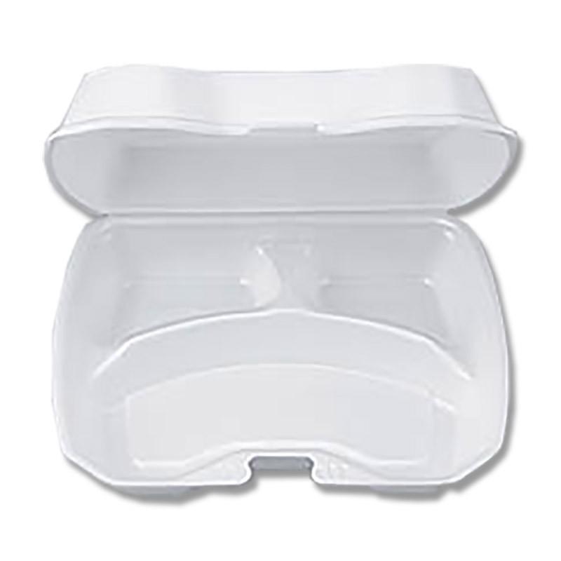 フードパック お弁当箱 食品包材 おしゃれ発泡容器 使い捨て弁当容器 フードデリバリーお弁当や惣菜のテイクアウト用・業務用の使い捨て容器 嵌合フードパック 業務用 使い捨て 発泡容器 VK-613-3 無地 50枚