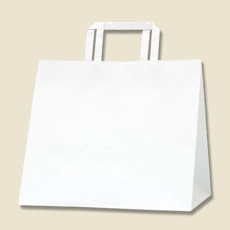 誕生日プレゼント ショッピング 袋 お土産 マチ広め 持ち手付き ホワイト 紙袋 300-1 HフラットCB シモジマ N白無地 安心と信頼