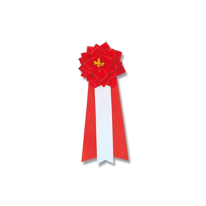 徽章リボン バラ 小 赤 20個