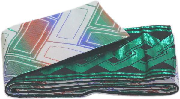 【ご奉仕価格】四寸三分帯 金襴帯《白地グラデーション赤青緑箔桧垣 黒地緑箔吉原つなぎ》両面 日本製 半巾帯 4寸3分帯 小袋帯