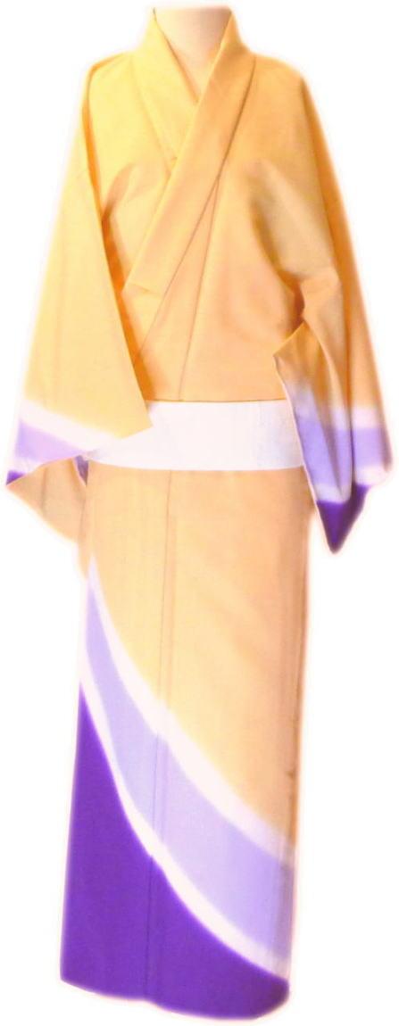 """仕立上 男物 絵羽 附下""""単衣仕立""""≪肌色 紫 ぼかし≫「舞台衣装・ステージ衣装」 日本舞踊・演劇・よさこい・コスプレ・余興・お祭などに最適!【送料無料】着物 踊り着物 踊り用"""