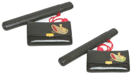 煙草入れ:おけさ笠柄(かます)キセル入れ・プラスティック 牛革製【わけあり】【踊り用小道具】廃番商品・現品限り