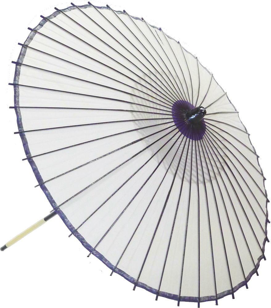 高級絹傘18 白中心紫 国産 装飾・文化祭・大道芸・コスプレの小道具としても最適!【舞台・舞傘・撮影・小道具】